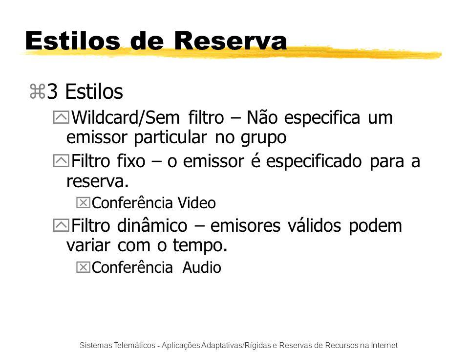 Sistemas Telemáticos - Aplicações Adaptativas/Rígidas e Reservas de Recursos na Internet Estilos de Reserva z3 Estilos yWildcard/Sem filtro – Não espe