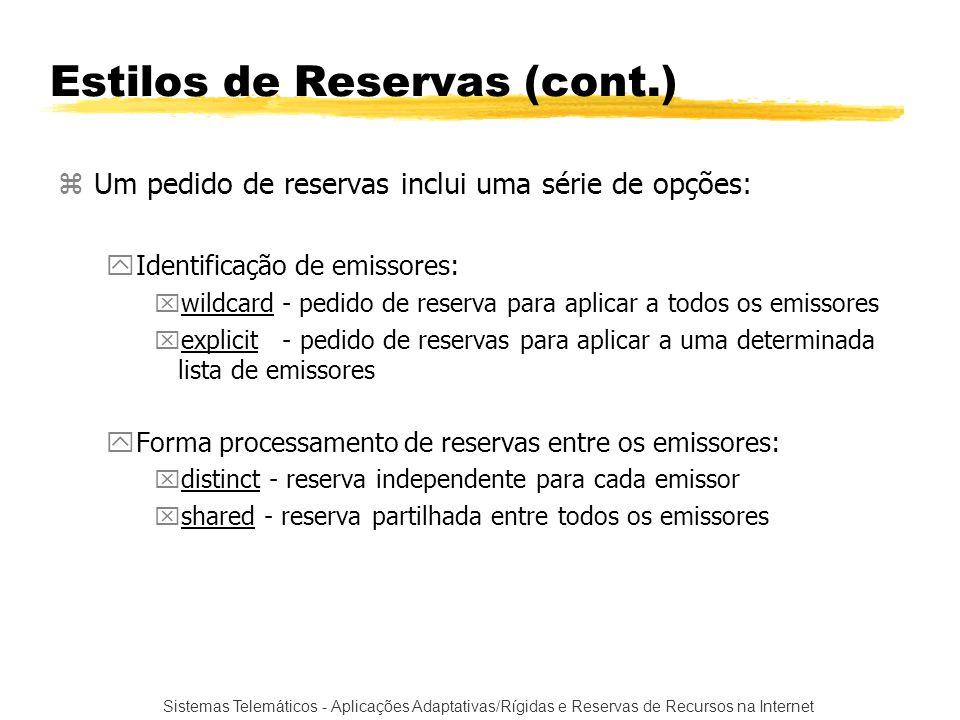 Sistemas Telemáticos - Aplicações Adaptativas/Rígidas e Reservas de Recursos na Internet Estilos de Reservas (cont.) zUm pedido de reservas inclui uma