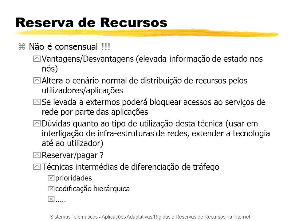 Sistemas Telemáticos - Aplicações Adaptativas/Rígidas e Reservas de Recursos na Internet Reserva de Recursos zNão é consensual !!! yVantagens/Desvanta