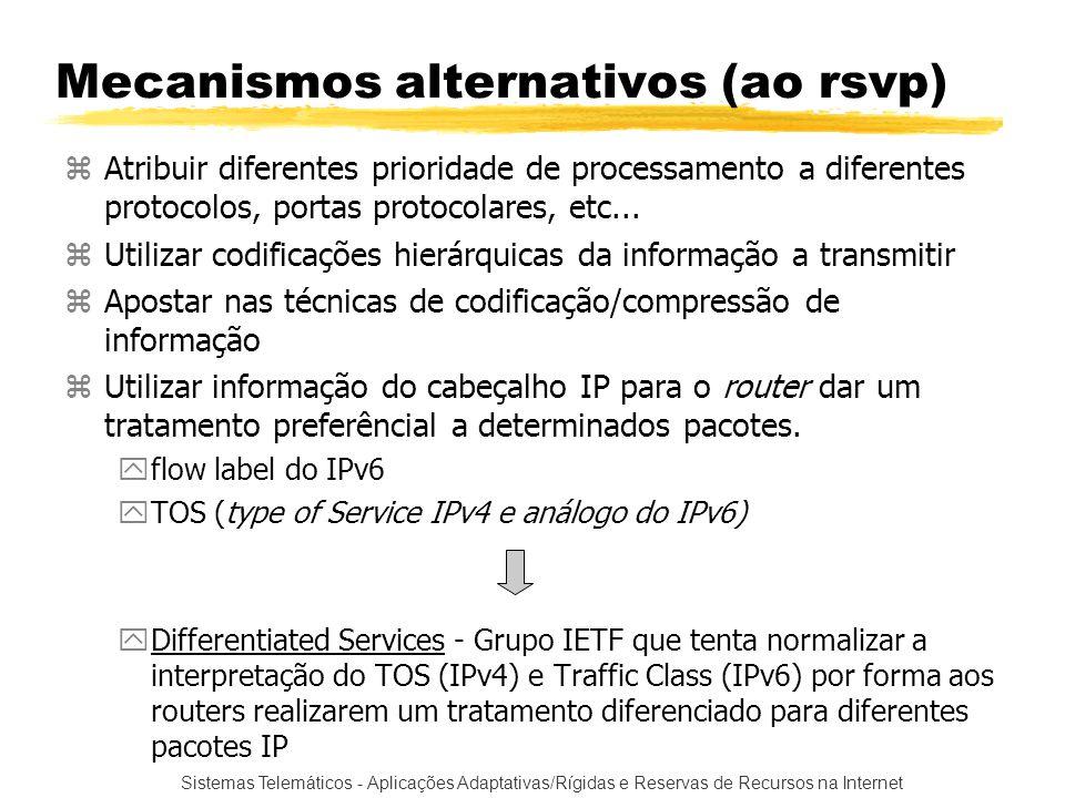 Sistemas Telemáticos - Aplicações Adaptativas/Rígidas e Reservas de Recursos na Internet Mecanismos alternativos (ao rsvp) zAtribuir diferentes priori