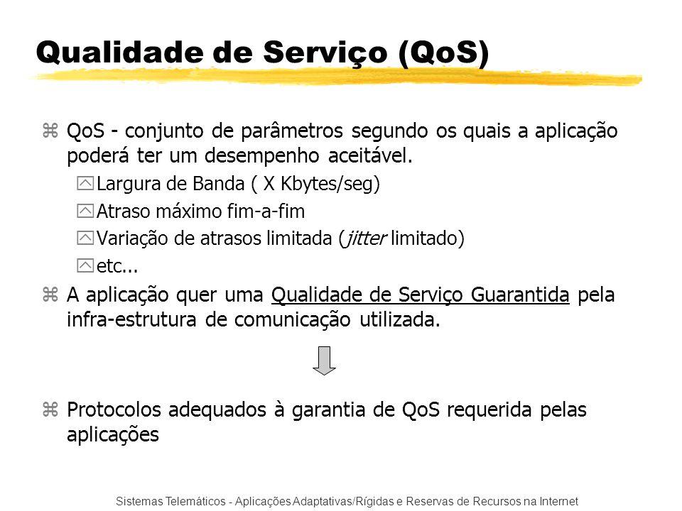 Sistemas Telemáticos - Aplicações Adaptativas/Rígidas e Reservas de Recursos na Internet Qualidade de Serviço (QoS) zQoS - conjunto de parâmetros segu