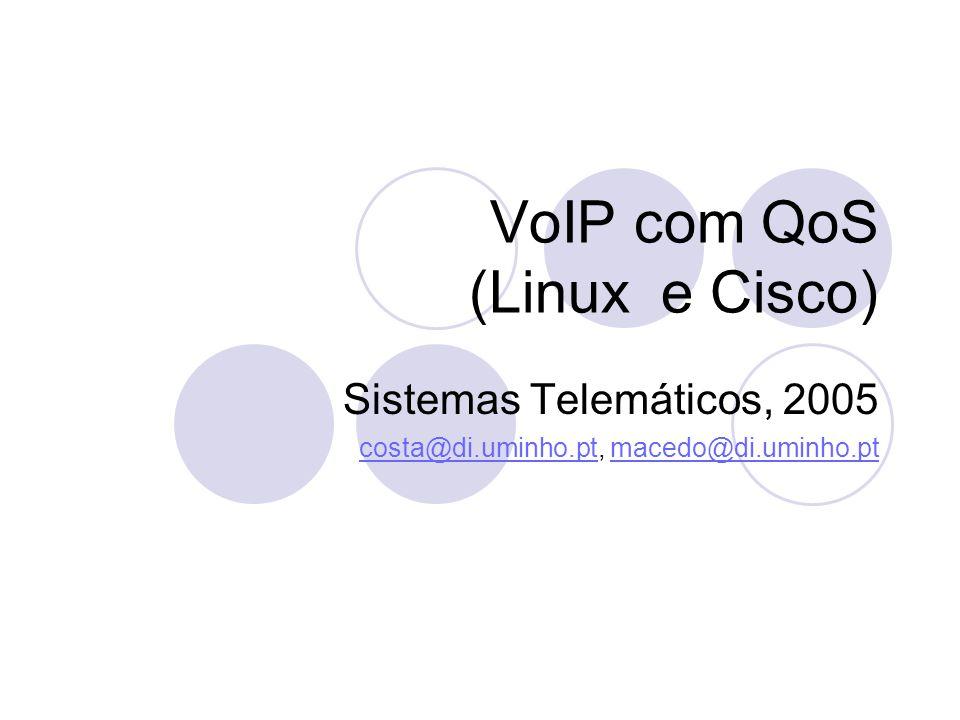VoIP com QoS (Linux e Cisco) Sistemas Telemáticos, 2005 costa@di.uminho.ptcosta@di.uminho.pt, macedo@di.uminho.ptmacedo@di.uminho.pt
