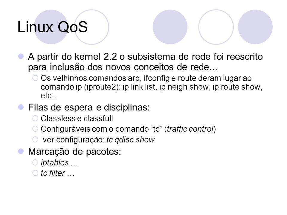 Linux QoS A partir do kernel 2.2 o subsistema de rede foi reescrito para inclusão dos novos conceitos de rede… Os velhinhos comandos arp, ifconfig e route deram lugar ao comando ip (iproute2): ip link list, ip neigh show, ip route show, etc..
