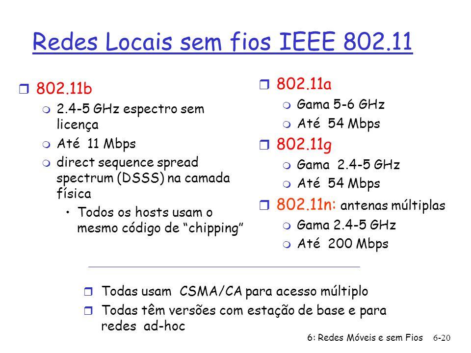 6: Redes Móveis e sem Fios6-21 Arquitectura da LAN 802.11 r Cada host sem fios comunica com uma estação de base m Estação de Base = Ponto de Acesso (AP) r Cojunto básico de serviço (BSS) (aka cell) no modo infra-estrtutura contém: m Hosts sem fios m Pontos de Acesso (AP): Estações de Base BSS 1 BSS 2 Internet hub, switch or router AP