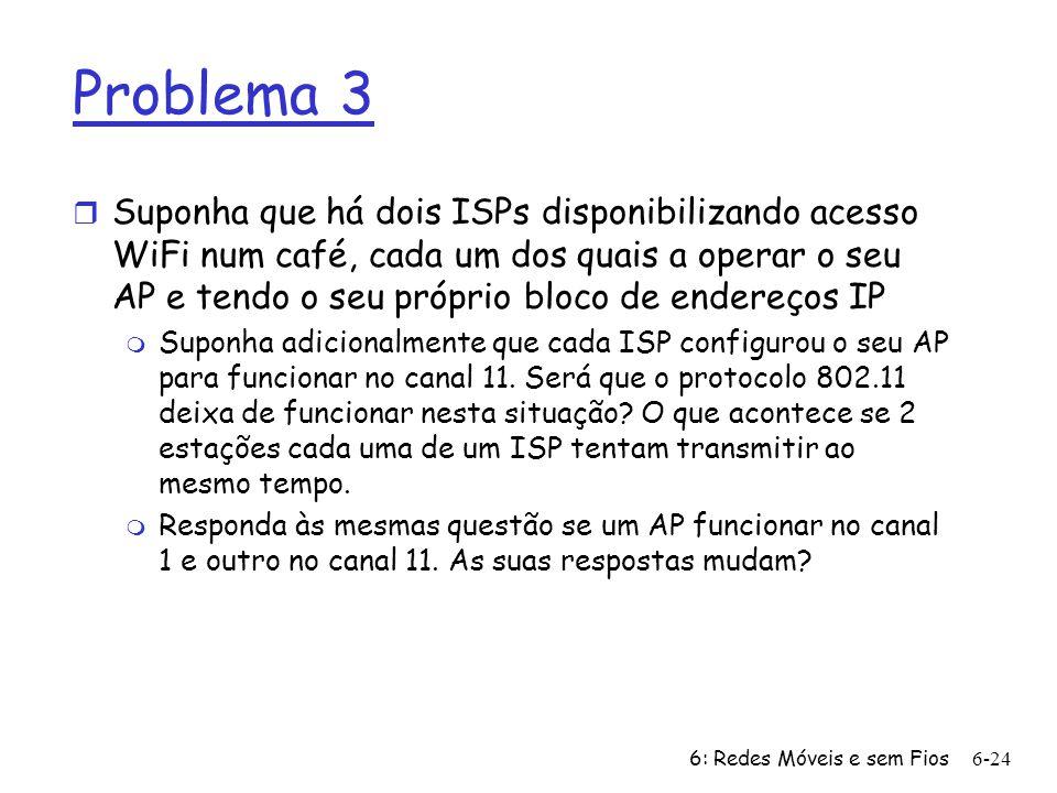 6: Redes Móveis e sem Fios6-25 802.11: Varrimento Activo/Passivo AP 2 AP 1 H1 BBS 2 BBS 1 1 2 2 3 4 Varrimento Activo (1)Pedido de prova enviada de H1 (2)Resposta de prova enviada dos APs (3)Quadro de pedido de associação enviada pelo H1 para o AP seleccionado (4)Quadro de resposta de associação enviada para o H1 pelo AP seleccionado AP 2 AP 1 H1 BBS 2 BBS 1 1 2 3 1 Varrimento Passivo: (1)beacon frames enviadas dos APs (2)Quadro de pedido de associação enviada pelo H1 para o AP seleccionado (3)Quadro de resposta de associação enviada para o H1 pelo AP seleccionado
