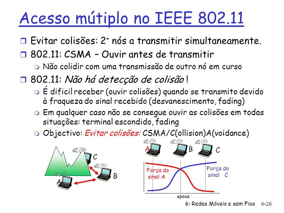 6: Redes Móveis e sem Fios6-27 Protocolo de Controlo de Acesso ao Meio (MAC) do IEEE 802.11 : CSMA/CA Transmissor 802.11 1 Se se apercebe do canal inactivo durante o tempo DIFS então Transmite o quadro completo (sem CD) 2 Se o canal estiver ocupado então arranca um tempo aleatório de backoff O temporizador faz uma contagem decrescente à espera do canal inactivo Transmite quando o tempo termina Se não tiver confirmação (ACK), aumenta o intervalo aleatório do tempo de backboff, e repete o passo 2 Receptor 802.11 - Se o quadro recebido estiver OK devolve o ACK após o tempo SIFS (ACK é necessário por causa do problema do terminal escondido) sender receiver DIFS data SIFS ACK Tempo