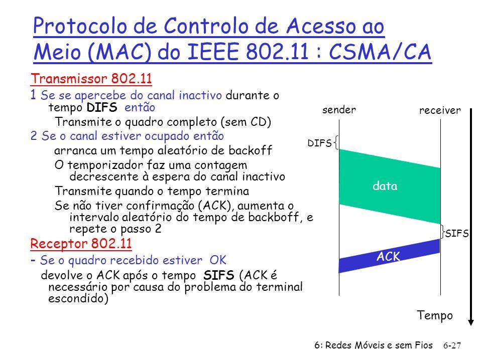 6: Redes Móveis e sem Fios6-28 CSMA/CD versus CSMA/CA r CSMA/CD (Ethernet) m Transmite mal se aperceba que o canal está livre r CSMA/CA m Apercebe-se que o canal está livre mas refreia a sua vontade de transmitir e conta a partir dum valor aleatório de forma decrescente até zero antes de transmitir Porquê a Diferença?