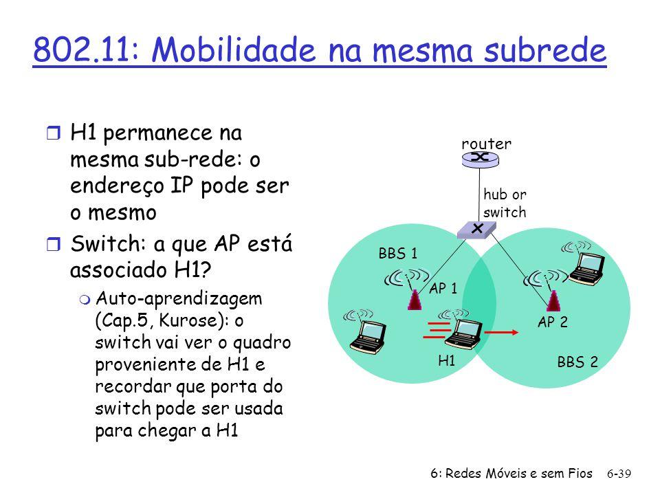 6: Redes Móveis e sem Fios6-40 802.11: Funcionalidades avançadas Adaptação da taxa de transmissão r A estação de base e o host móvel, mudam dinamicamente a sua taxa de transmissão (técnica de modulação da camada física) conforme o host se move, o SNR varia QAM256 (8 Mbps) QAM16 (4 Mbps) BPSK (1 Mbps) 1020 30 40 SNR(dB) BER 10 -1 10 -2 10 -3 10 -5 10 -6 10 -7 10 -4 operating point 1.