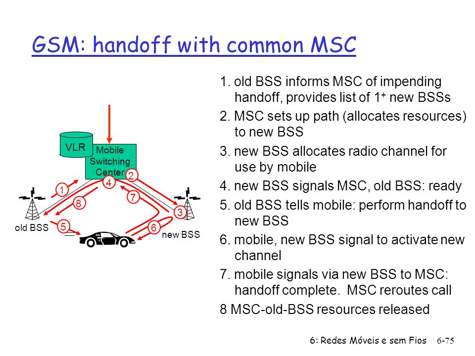 6: Redes Móveis e sem Fios6-75 Mobile Switching Center VLR old BSS 1 3 2 4 5 6 7 8 GSM: handoff with common MSC new BSS 1.
