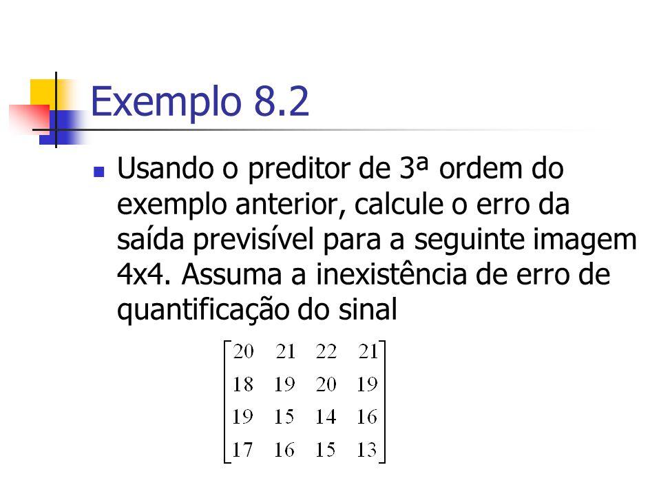 Exemplo 8.2 Usando o preditor de 3ª ordem do exemplo anterior, calcule o erro da saída previsível para a seguinte imagem 4x4. Assuma a inexistência de