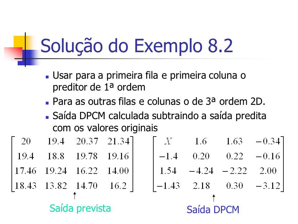 Solução do Exemplo 8.2 Usar para a primeira fila e primeira coluna o preditor de 1ª ordem Para as outras filas e colunas o de 3ª ordem 2D. Saída DPCM