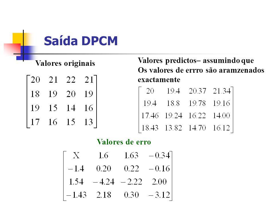 Valores predictos– assumindo que Os valores de errro são aramzenados exactamente Valores originais Valores de erro