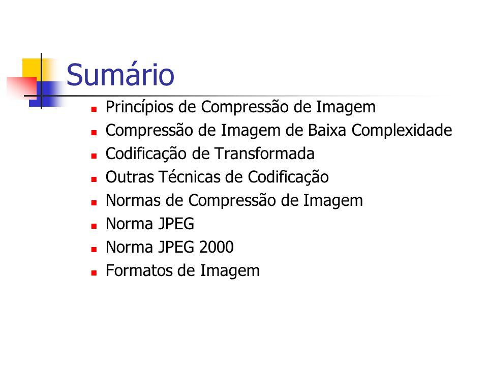 Sumário Princípios de Compressão de Imagem Compressão de Imagem de Baixa Complexidade Codificação de Transformada Outras Técnicas de Codificação Norma