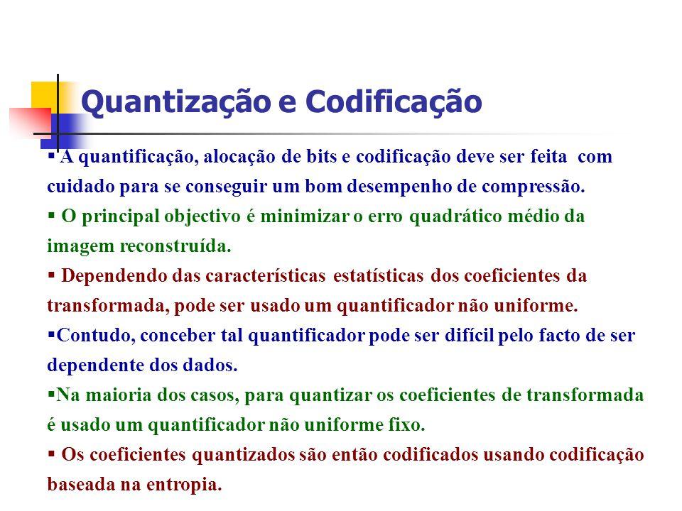 Quantização e Codificação A quantificação, alocação de bits e codificação deve ser feita com cuidado para se conseguir um bom desempenho de compressão