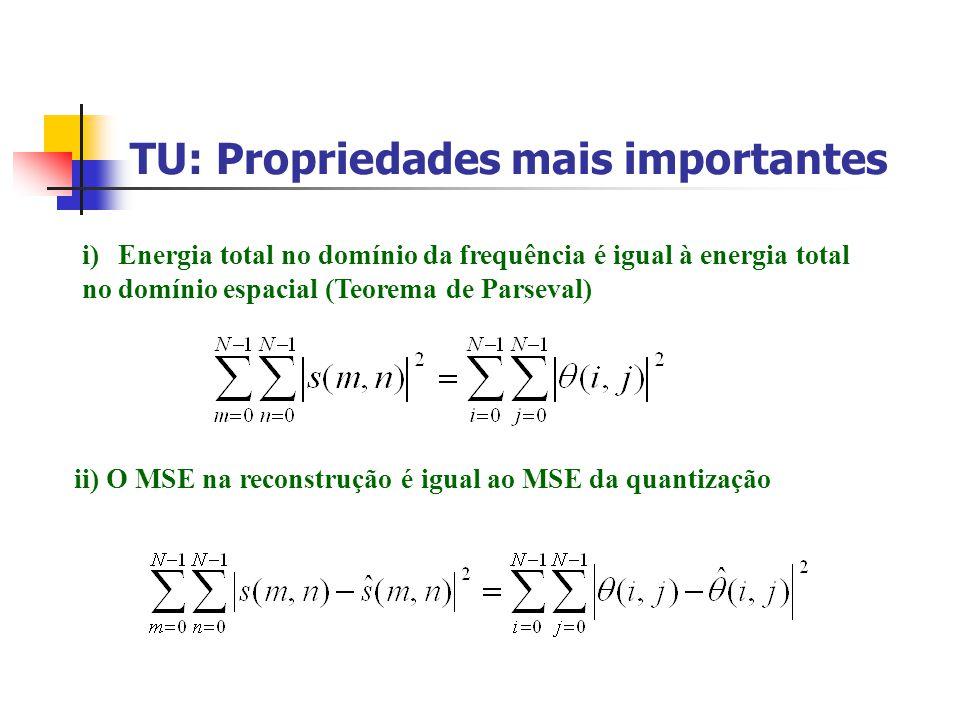TU: Propriedades mais importantes i)Energia total no domínio da frequência é igual à energia total no domínio espacial (Teorema de Parseval) ii) O MSE