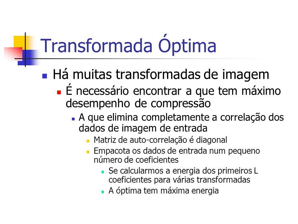 Transformada Óptima Há muitas transformadas de imagem É necessário encontrar a que tem máximo desempenho de compressão A que elimina completamente a c