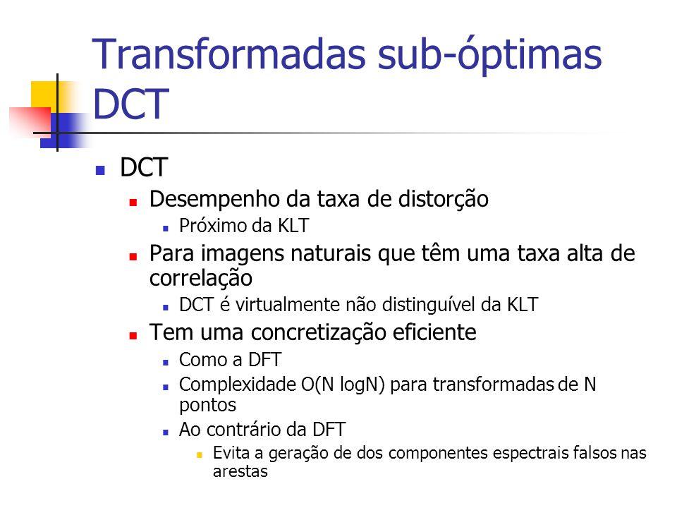 Transformadas sub-óptimas DCT DCT Desempenho da taxa de distorção Próximo da KLT Para imagens naturais que têm uma taxa alta de correlação DCT é virtu
