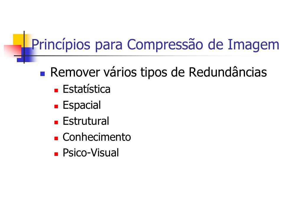 Princípios para Compressão de Imagem Remover vários tipos de Redundâncias Estatística Espacial Estrutural Conhecimento Psico-Visual