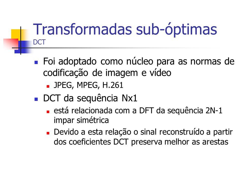 Transformadas sub-óptimas DCT Foi adoptado como núcleo para as normas de codificação de imagem e vídeo JPEG, MPEG, H.261 DCT da sequência Nx1 está rel
