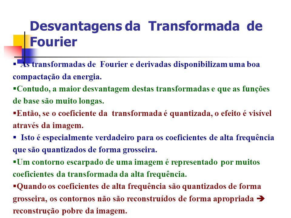 Desvantagens da Transformada de Fourier As transformadas de Fourier e derivadas disponibilizam uma boa compactação da energia. Contudo, a maior desvan