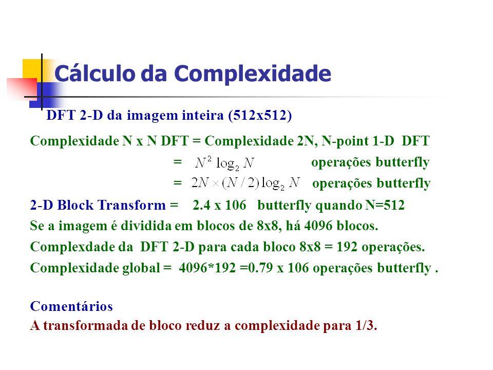Cálculo da Complexidade Complexidade N x N DFT = Complexidade 2N, N-point 1-D DFT = operações butterfly 2-D Block Transform = 2.4 x 106 butterfly quan