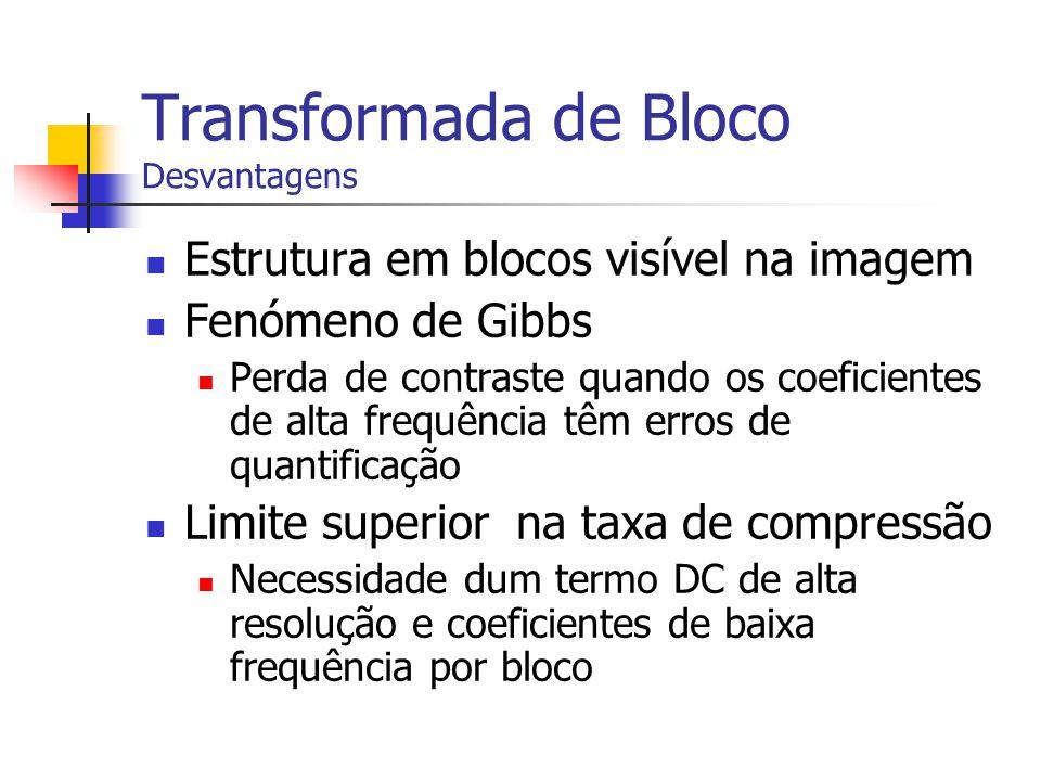 Transformada de Bloco Desvantagens Estrutura em blocos visível na imagem Fenómeno de Gibbs Perda de contraste quando os coeficientes de alta frequênci