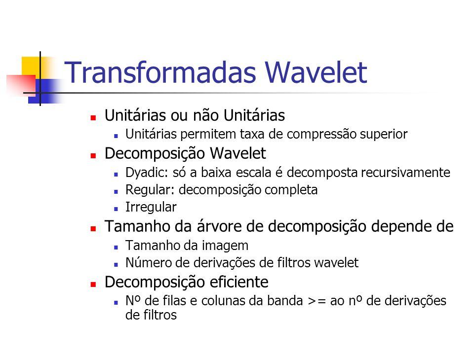 Transformadas Wavelet Unitárias ou não Unitárias Unitárias permitem taxa de compressão superior Decomposição Wavelet Dyadic: só a baixa escala é decom