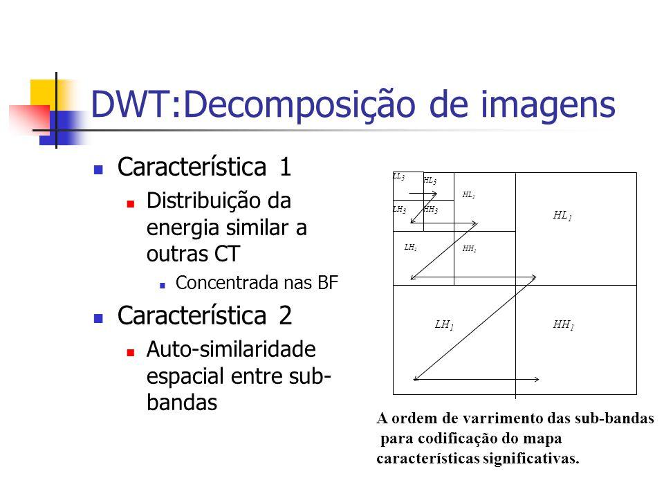 DWT:Decomposição de imagens Característica 1 Distribuição da energia similar a outras CT Concentrada nas BF Característica 2 Auto-similaridade espacia