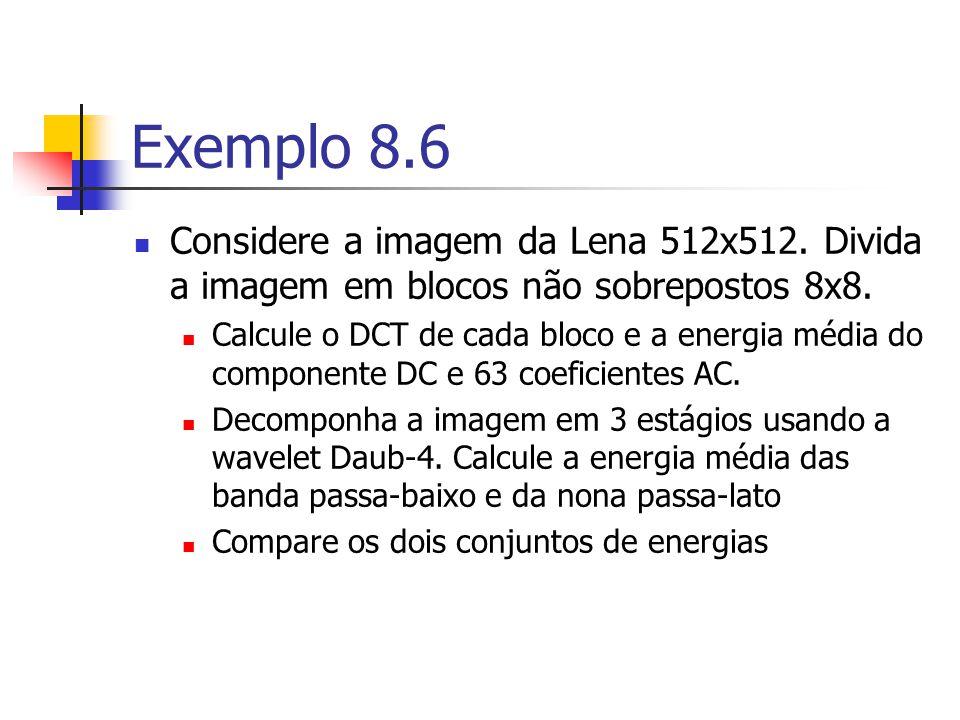 Exemplo 8.6 Considere a imagem da Lena 512x512. Divida a imagem em blocos não sobrepostos 8x8. Calcule o DCT de cada bloco e a energia média do compon