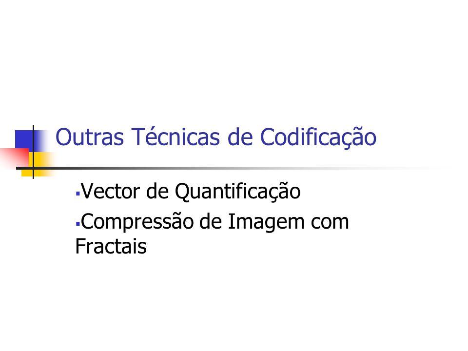 Outras Técnicas de Codificação Vector de Quantificação Compressão de Imagem com Fractais