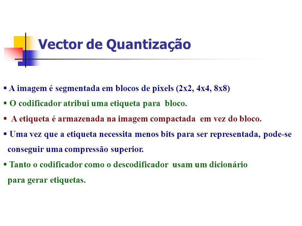 Vector de Quantização A imagem é segmentada em blocos de pixels (2x2, 4x4, 8x8) O codificador atribui uma etiqueta para bloco. A etiqueta é armazenada