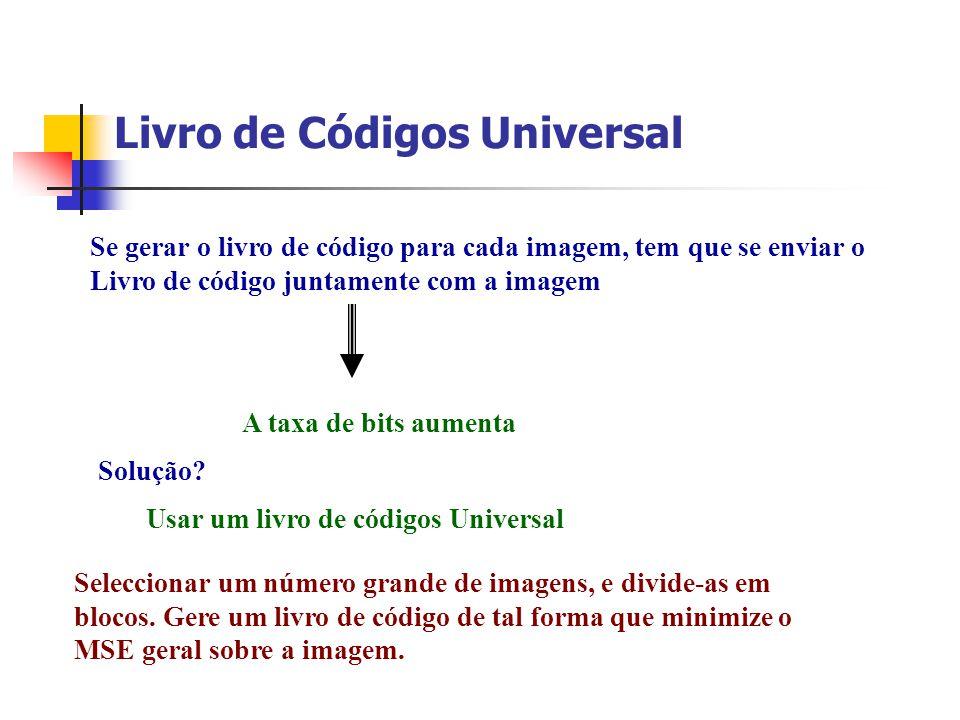 Livro de Códigos Universal Se gerar o livro de código para cada imagem, tem que se enviar o Livro de código juntamente com a imagem A taxa de bits aum