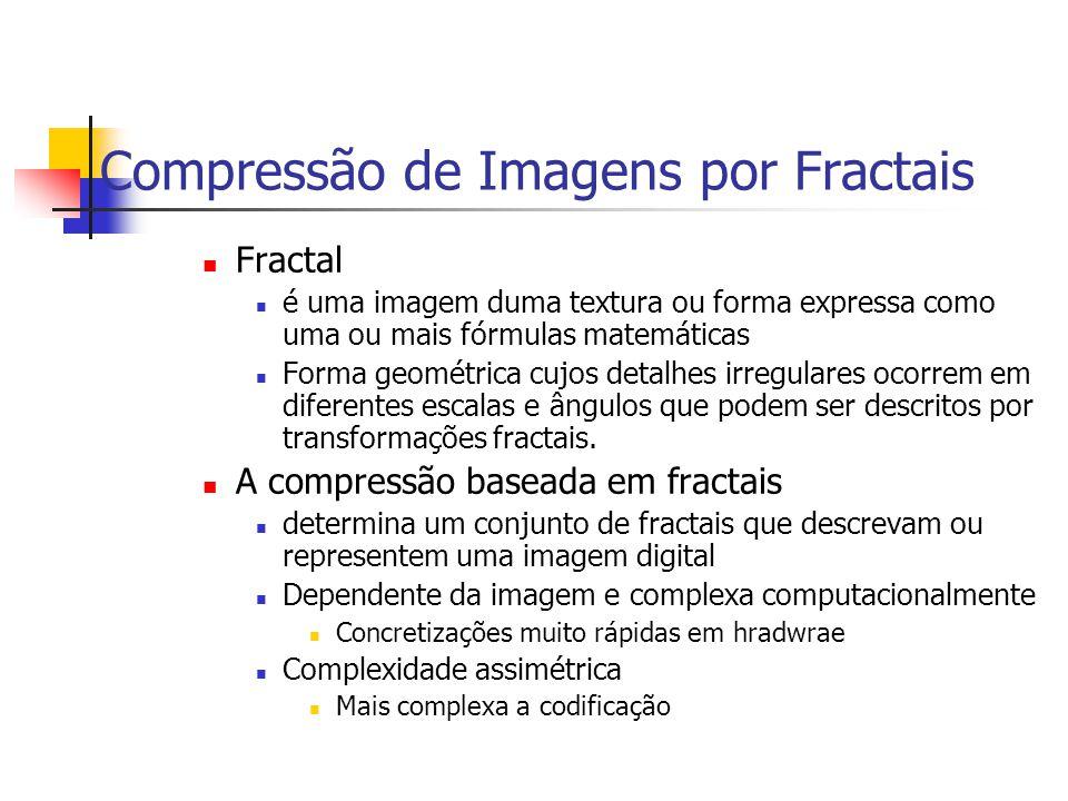 Compressão de Imagens por Fractais Fractal é uma imagem duma textura ou forma expressa como uma ou mais fórmulas matemáticas Forma geométrica cujos de