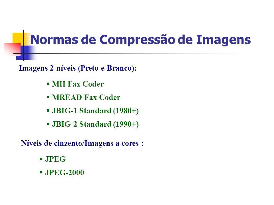 Normas de Compressão de Imagens Imagens 2-níveis (Preto e Branco): MH Fax Coder MREAD Fax Coder JBIG-1 Standard (1980+) JBIG-2 Standard (1990+) Níveis