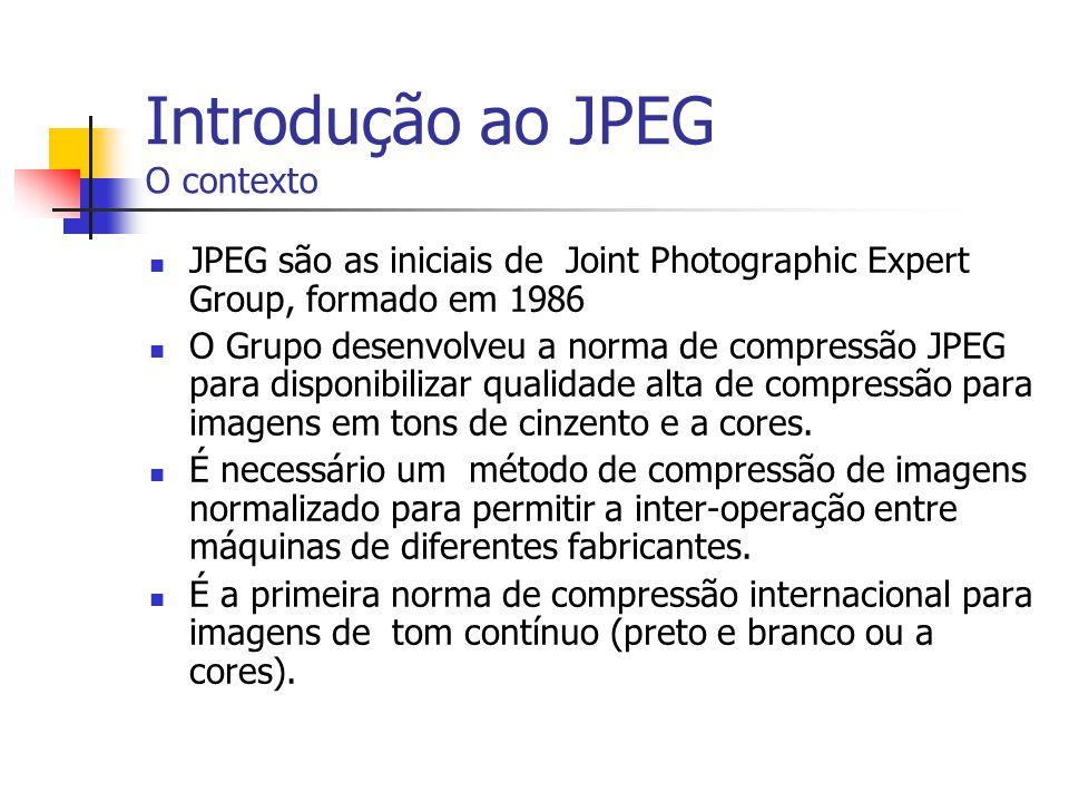 Introdução ao JPEG O contexto JPEG são as iniciais de Joint Photographic Expert Group, formado em 1986 O Grupo desenvolveu a norma de compressão JPEG