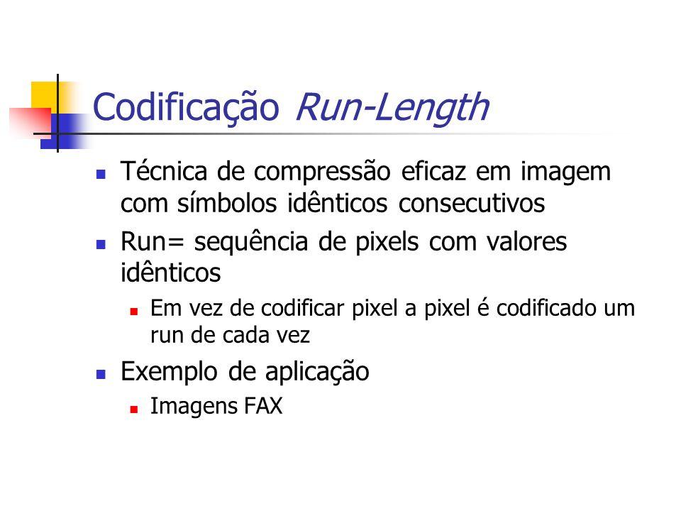 Exemplo 8.1 Considere a codificação Run-Length duma imagem FAX cujas primeiras linhas de varrimento são mostras a seguir ImagemFAX={11111111111000000000000000000 011111111111111111 0000000000000011111111111111111111000000000 0000000} Código RLC=[....11,22,17,EOL,0,14,20,16,EOL,...]