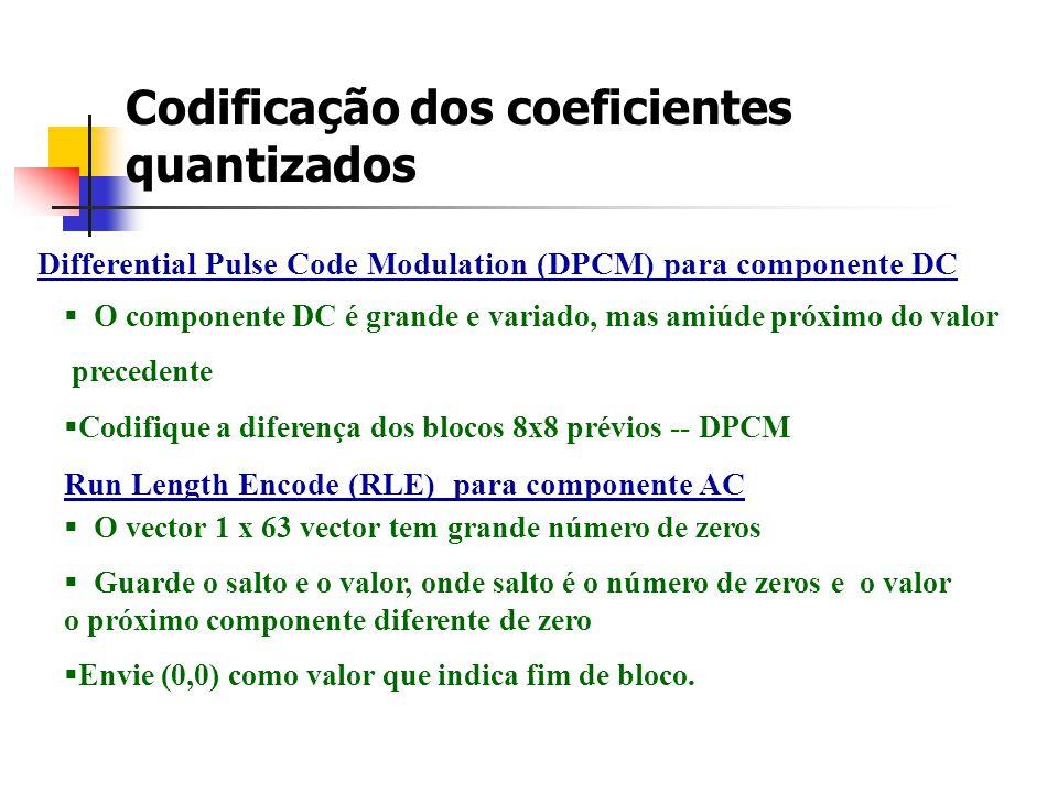 Codificação dos coeficientes quantizados Differential Pulse Code Modulation (DPCM) para componente DC O componente DC é grande e variado, mas amiúde p