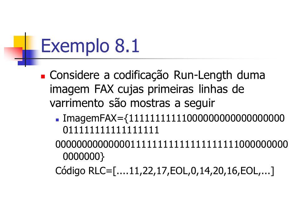 Exemplo 8.1 Considere a codificação Run-Length duma imagem FAX cujas primeiras linhas de varrimento são mostras a seguir ImagemFAX={111111111110000000