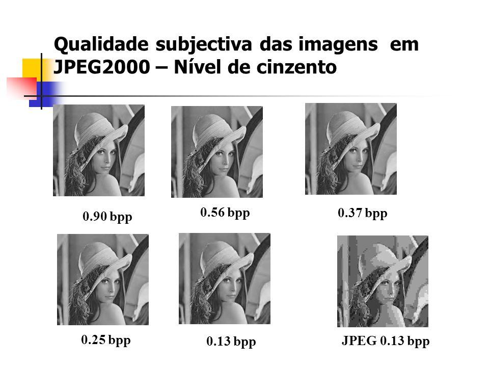 Qualidade subjectiva das imagens em JPEG2000 – Nível de cinzento 0.90 bpp 0.56 bpp 0.37 bpp 0.25 bpp 0.13 bpp JPEG 0.13 bpp