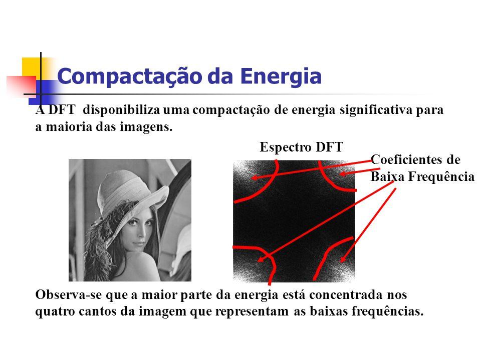 Compactação da Energia A DFT disponibiliza uma compactação de energia significativa para a maioria das imagens. Observa-se que a maior parte da energi