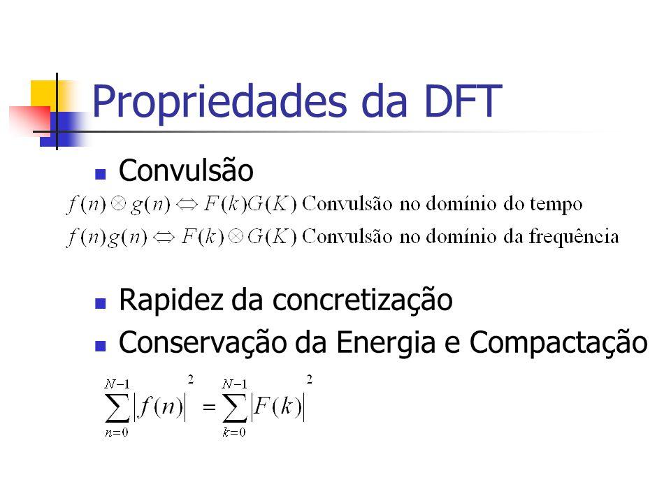 Propriedades da DFT Convulsão Rapidez da concretização Conservação da Energia e Compactação