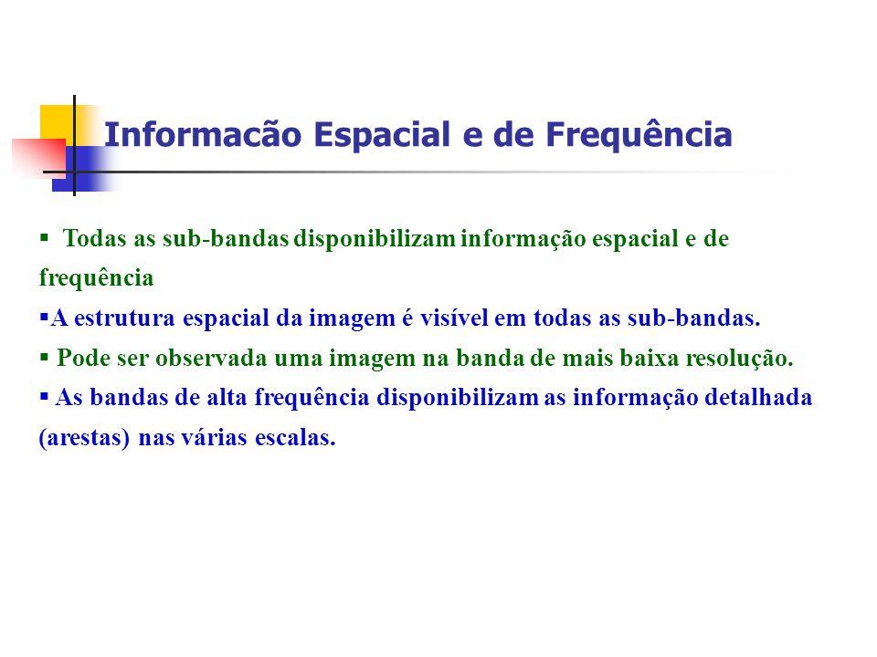 Informacão Espacial e de Frequência Todas as sub-bandas disponibilizam informação espacial e de frequência A estrutura espacial da imagem é visível em