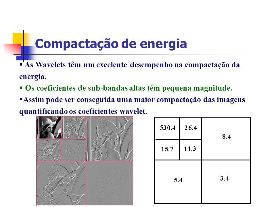 Compactação de energia As Wavelets têm um excelente desempenho na compactação da energia. Os coeficientes de sub-bandas altas têm pequena magnitude. A