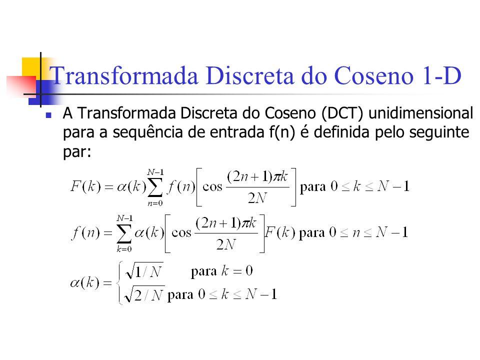 Transformada Discreta do Coseno 1-D A Transformada Discreta do Coseno (DCT) unidimensional para a sequência de entrada f(n) é definida pelo seguinte p