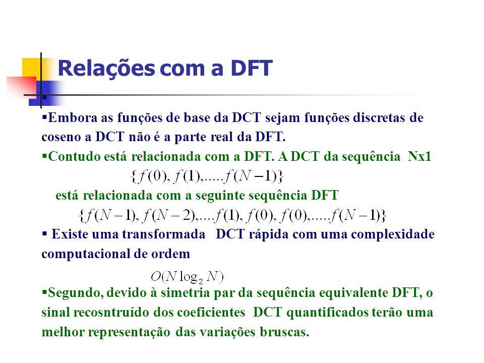 Relações com a DFT Embora as funções de base da DCT sejam funções discretas de coseno a DCT não é a parte real da DFT. Contudo está relacionada com a