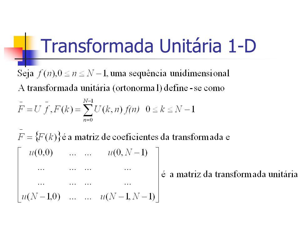 Categorias de Bancos de Filtros Reconstrução do Sinal Reversível (Irreversíveis) a sequência de entrada (não)pode ser perfeitamente reconstruída com os coeficientes não quantificados e o banco de filtros de síntese Para-unitários A matriz de transformação num sentido é a inversa da matriz de transformação no sentido contrário Similar a uma transformada ortonormal
