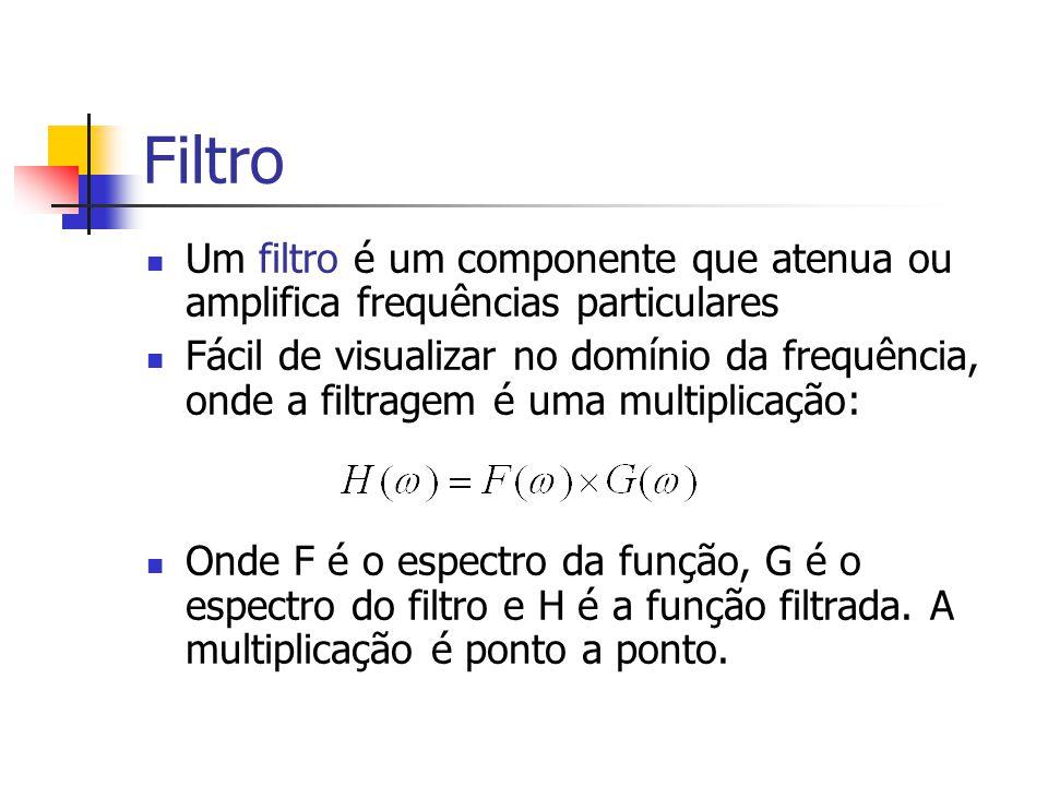 Filtro Um filtro é um componente que atenua ou amplifica frequências particulares Fácil de visualizar no domínio da frequência, onde a filtragem é uma
