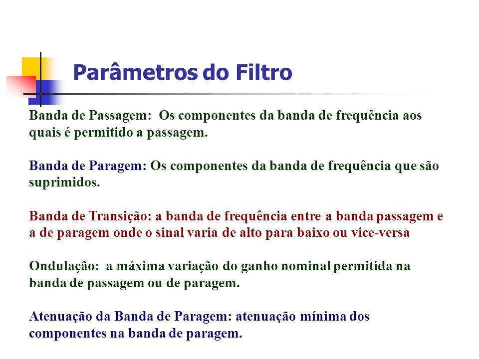 Parâmetros do Filtro Banda de Passagem: Os componentes da banda de frequência aos quais é permitido a passagem. Banda de Paragem: Os componentes da ba