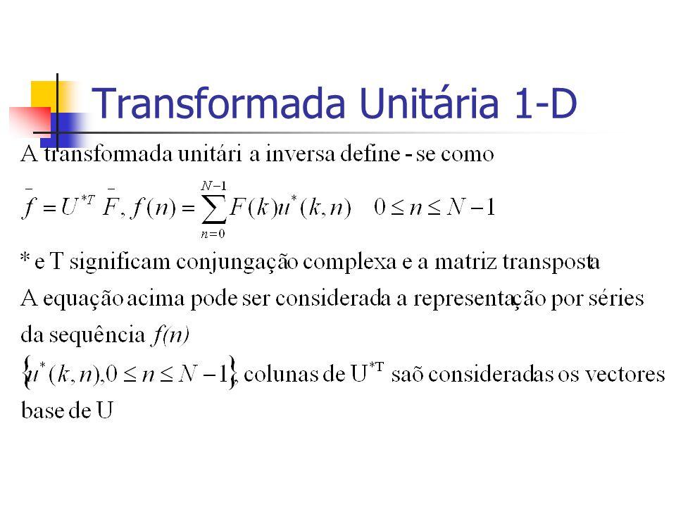 Exemplo 5.9 (cont.) O coeficientes de Haar do 1º estágio (i.e., escala 1) podem ser calculdos com: Na segunda iteração da recursividade são usados apenas os coeficientes passa baixo