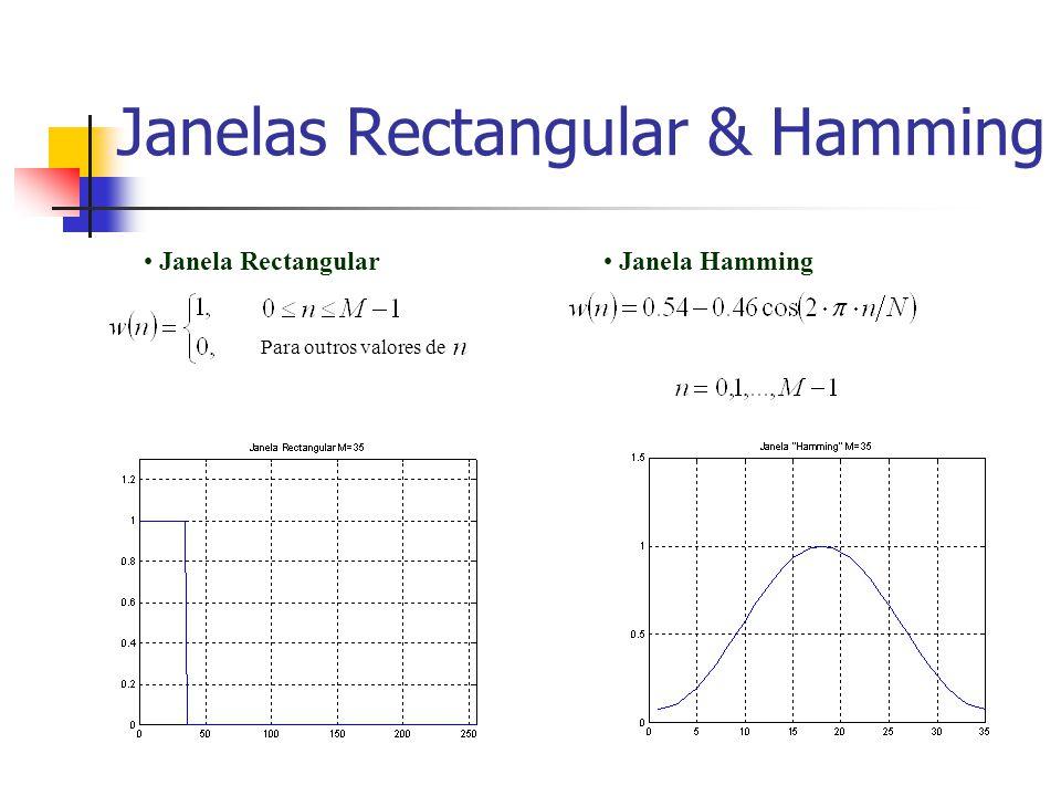 Janelas Rectangular & Hamming Para outros valores de Janela Rectangular Janela Hamming